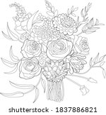 flowers bouquet coloring book... | Shutterstock .eps vector #1837886821