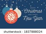 christmas coronavirus ball... | Shutterstock .eps vector #1837888024