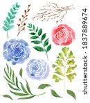 watercolor bright colorful... | Shutterstock . vector #1837889674