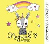 Cute Bunny Girl Under Rainbow ...
