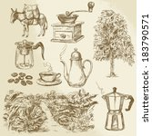 coffee collection   hand drawn... | Shutterstock .eps vector #183790571