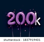 200k sign violet balloons with... | Shutterstock .eps vector #1837919401