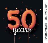 50 years sign orange balloons... | Shutterstock .eps vector #1837919404