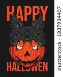 happy halloween pumpkin with a... | Shutterstock .eps vector #1837934407