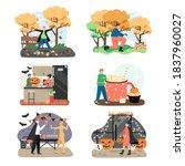 autumn season holidays and...   Shutterstock .eps vector #1837960027