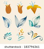 flower design elements | Shutterstock .eps vector #183796361