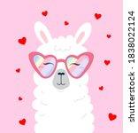 happy llama head wearing... | Shutterstock .eps vector #1838022124