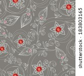 Ornamental colored seamless floral pattern with flowers, doodles, cucumbers and rubies. Used Clipping Mask for easy editing.