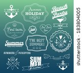 white retro elements for summer ... | Shutterstock .eps vector #183804005
