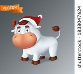 funny silver ox animal in red...   Shutterstock .eps vector #1838047624