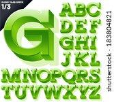 vector alphabet of simple 3d... | Shutterstock .eps vector #183804821