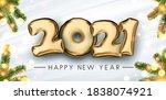 golden foil balloon 2021 sign...   Shutterstock .eps vector #1838074921