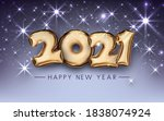 golden foil balloon 2021 sign...   Shutterstock .eps vector #1838074924