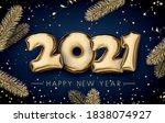 golden foil balloon 2021 sign...   Shutterstock .eps vector #1838074927