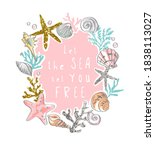 sea slogan in colorful... | Shutterstock .eps vector #1838113027