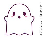 isolated ghost cartoon kawaii.... | Shutterstock .eps vector #1838113441