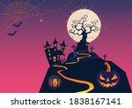 halloween fullmoon banner ... | Shutterstock .eps vector #1838167141