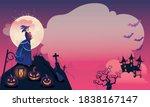 halloween fullmoon banner ... | Shutterstock .eps vector #1838167147