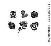 roses hand drawn color set.... | Shutterstock .eps vector #1838167171