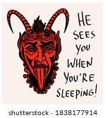 krampus. scary krampus. horned...   Shutterstock .eps vector #1838177914