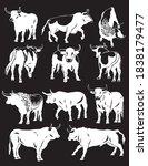 vector set of oxen on black... | Shutterstock .eps vector #1838179477