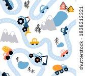 seamless vector highlands road... | Shutterstock .eps vector #1838212321