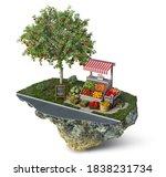 fruits and veggies stall near...   Shutterstock . vector #1838231734