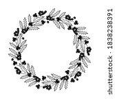 holly berry wreath. cold season ... | Shutterstock .eps vector #1838238391