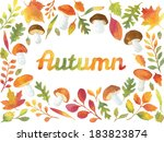 Word Autumn In Watercolor...