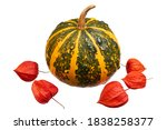 Yellow Striped Pumpkin And Red...