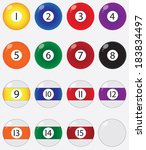 pool balls set illustrated on... | Shutterstock .eps vector #183834497