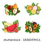 ripe fresh fruit and berries... | Shutterstock .eps vector #1838359411