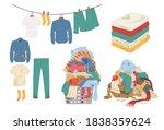 laundry set  flat vector... | Shutterstock .eps vector #1838359624