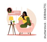 african woman sitting on sofa...   Shutterstock .eps vector #1838466751