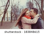 young happy couple hugging in... | Shutterstock . vector #183848615