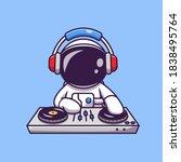 Cute Astronaut Playing Dj...