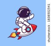 cute astronaut riding rocket... | Shutterstock .eps vector #1838502541