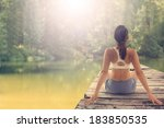 woman in sunset light and... | Shutterstock . vector #183850535