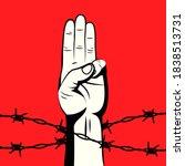 the 3 finger salute protest... | Shutterstock .eps vector #1838513731