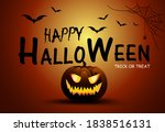 happy halloween poster design.... | Shutterstock .eps vector #1838516131