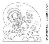 cartoon astronaut in outer... | Shutterstock .eps vector #1838544724
