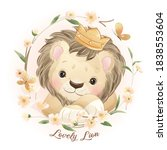 cute doodle lion with floral... | Shutterstock .eps vector #1838553604