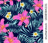 tropical seamless floral... | Shutterstock .eps vector #1838584231
