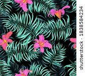 tropical seamless floral... | Shutterstock .eps vector #1838584234