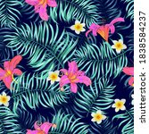 tropical seamless floral... | Shutterstock .eps vector #1838584237