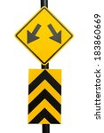 Yellow Fork sign for traffic road with Clipping path - stock photo