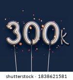 silver balloon 300k sign on...   Shutterstock .eps vector #1838621581