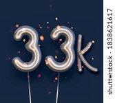 silver balloon 33k sign on dark ... | Shutterstock .eps vector #1838621617