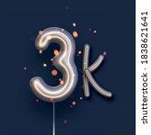 silver balloon 3k sign on dark... | Shutterstock .eps vector #1838621641