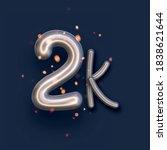 silver balloon 2k sign on dark... | Shutterstock .eps vector #1838621644